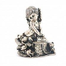 Серебряная статуэтка ручной работы Девочка с котятами