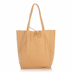 Кожаная сумка на каждый день Genuine Leather 8040 пшенично-желтого цвета на завязках