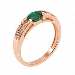 Золотое кольцо Бланш в красном цвете с изумрудом и бриллиантами