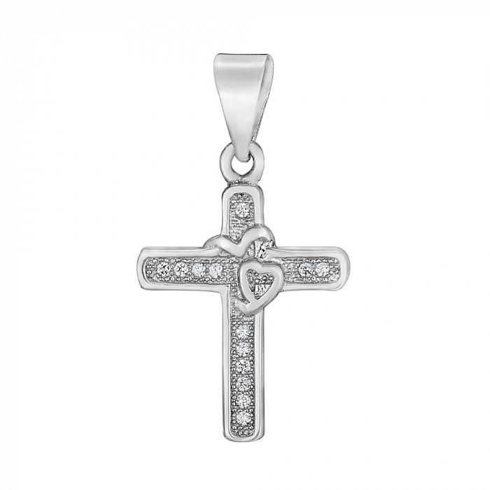 Серебряный декоративный крестик с цирконием 000118015 000118015