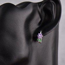 Серебряные серьги Перпл с фиолетовыми и зелеными фианитами