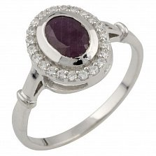 Серебряное кольцо Николина с рубином и фианитами