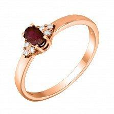Кольцо из красного золота с рубином, бриллиантами и родированием 000132160