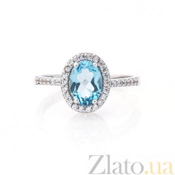 Золотое кольцо Филис с узорным кастом, голубым топазом и дорожками белых фианитов 000082343