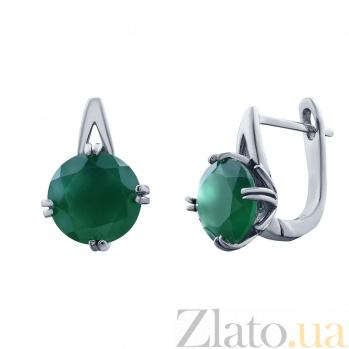 Серебряные серьги с агатом Рамира AQA--E01656Ag