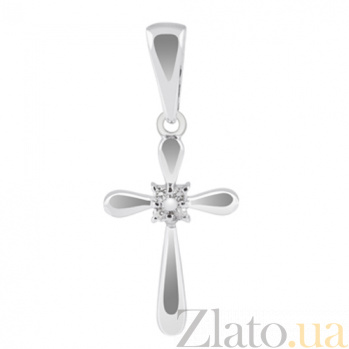 Декоративный крестик из белого золота с бриллиантами Магия KBL--П183/бел/брил