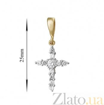 Серебряный крестик Аттика с фианитами и позолотой SLX--П3Ф/300