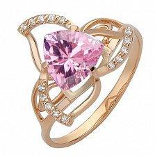 Золотое кольцо Лиллиан с розовым топазом и фианитами