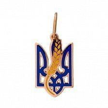 Золотой кулон Трезубец с колоском в синей и желтой эмали