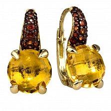 Золотые серьги Алжир с цитрином и гранатами