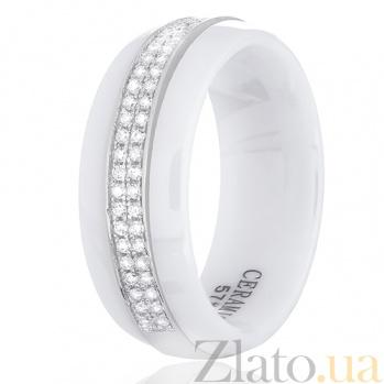 Кольцо из керамики Запад с серебром и цирконием 000030995