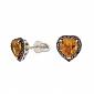 Серьги-пуссеты в белом золоте с цитринами и чёрными бриллиантами Сердечки ZMX--ECtDb-6655w_K