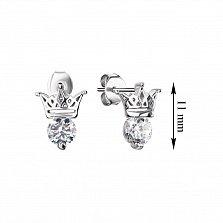 Серебряные серьги-пуссеты Корона с цирконием