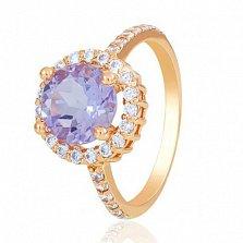 Золотое кольцо София с аметистом и фианитами