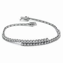 Золотой браслет Тайаро в белом цвете с бриллиантами