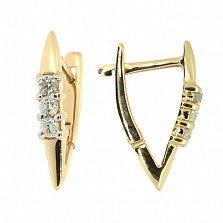 Золотые серьги с бриллиантами Дебора