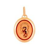 Золотая ладанка с эмалью Святая Богородица