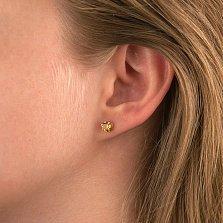 Золотые серьги-пуссеты Услада с желтыми цитринами