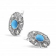 Серебряные серьги Карима с имитацией бирюзы и фианитами