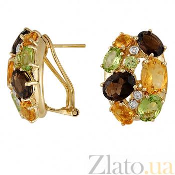 Золотые серьги с цитринами, раухтопазами, хризолитами и бриллиантами Пакохонтас 000038257