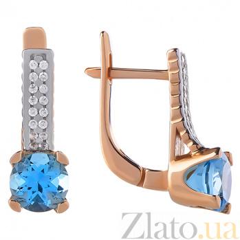 Золотые серьги Era с голубыми топазами и фианитами 000010368