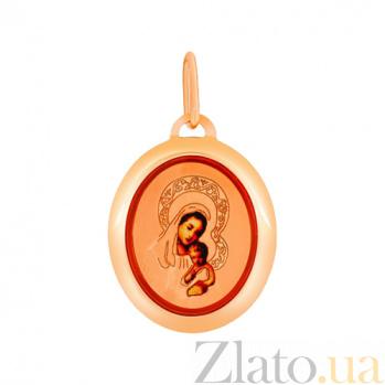 Золотая ладанка с эмалью Святая Богородица 000023886