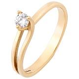Золотое кольцо Триплет в желтом цвете с бриллиантом