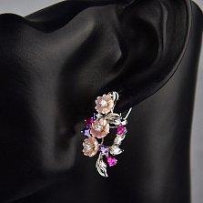 Серебряные серьги Зачарованный букет с розовым перламутром и разноцветными фианитами