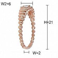 Кольцо Колосок из красного золота с бриллиантами