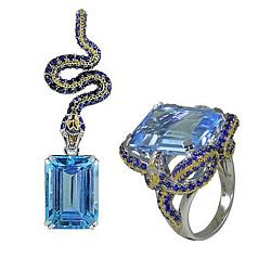 Золотой гарнитур с топазами, сапфирами и бриллиантами Эльвира 000017718