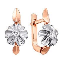 Золотые серьги Орхидея в комбинированном цвете с бриллиантами
