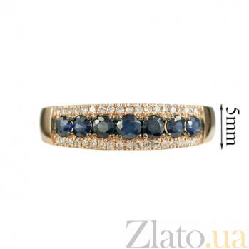 Золотое кольцо в красном цвете с бриллиантами и сапфирами Аврора 000026858