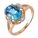 Кольцо из красного золота Бирма с голубым топазом и бриллиантами