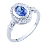 Серебряное кольцо Николина с синтезированным танзанитом и цирконием