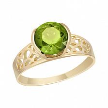 Кольцо в желтом золоте Амалия с хризолитом