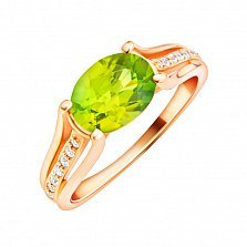 Золотое кольцо Фекла в красном цвете с хризолитом и фианитами