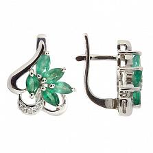 Серебряные серьги с бриллиантами и изумрудами Эмма
