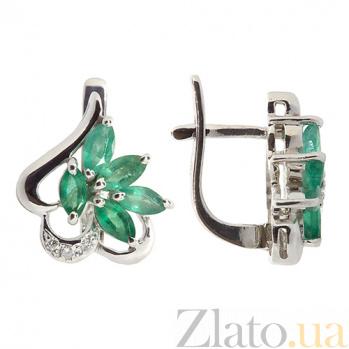 Серебряные серьги с бриллиантами и изумрудами Эмма ZMX--EDE-5005-Ag_K