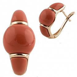 Серебряные серьги Мадам с красным кораллом