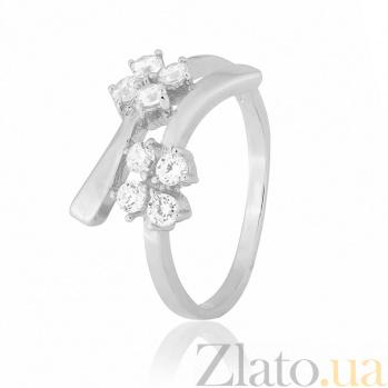 Серебряное кольцо с белыми фианитами Пора цветения 000025747