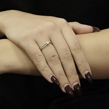 Золотое кольцо Арктика в белом цвете с бриллиантом