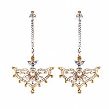 Золотые серьги с бриллиантами, жёлтыми сапфирами и жемчугом Nargis
