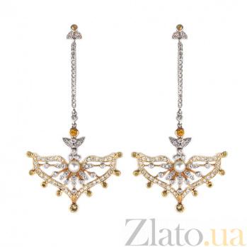 Золотые серьги с бриллиантами, жёлтыми сапфирами и жемчугом Nargis ZMX--EDSyP-00554y
