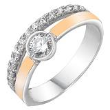 Серебряное кольцо Виллар с золотой накладкой и фианитами