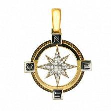 Подвеска Путеводная Звезда из желтого золота с цирконием