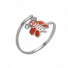 Серебряное кольцо Пчелка с эмалью