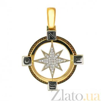 Подвеска Путеводная Звезда из желтого золота с цирконием VLT--Т3313-1