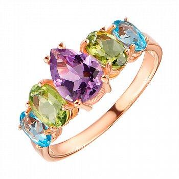 Кольцо в красном золоте с аметистом, голубыми топазами и хризолитами 000104196