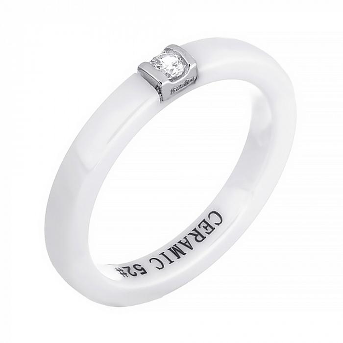 Кольцо из керамики Орвокки с серебром и фианитом 000030963