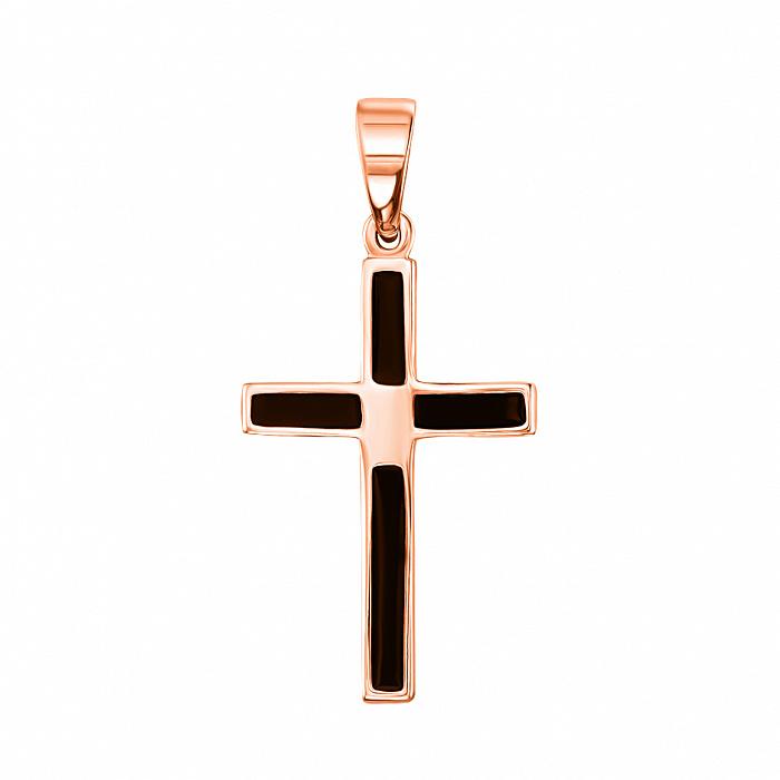 Декоративный крестик из красного золота с черной эмалью 000133507 000133507